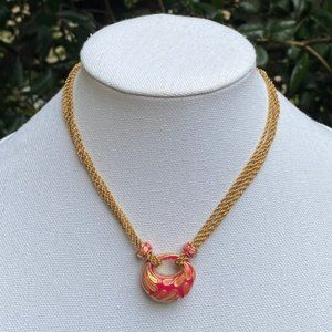 VTG ST. JOHN Enamel 4-Strand Gold Necklace